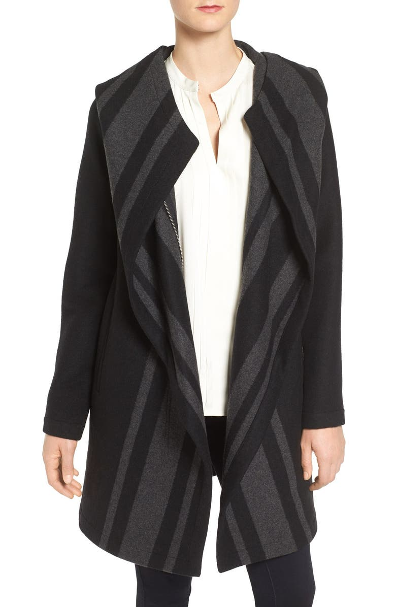 VINCE CAMUTO Stripe Wrap Hooded Coat, Main, color, BLACK/ CHARCOAL