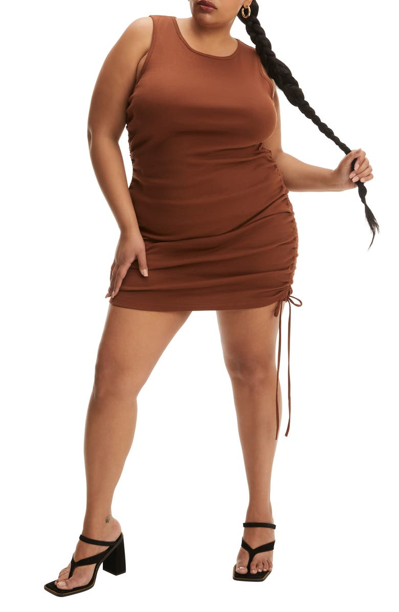 GOOD AMERICAN Ruched Tank Minidress, Main, color, TORTOISE SHELL