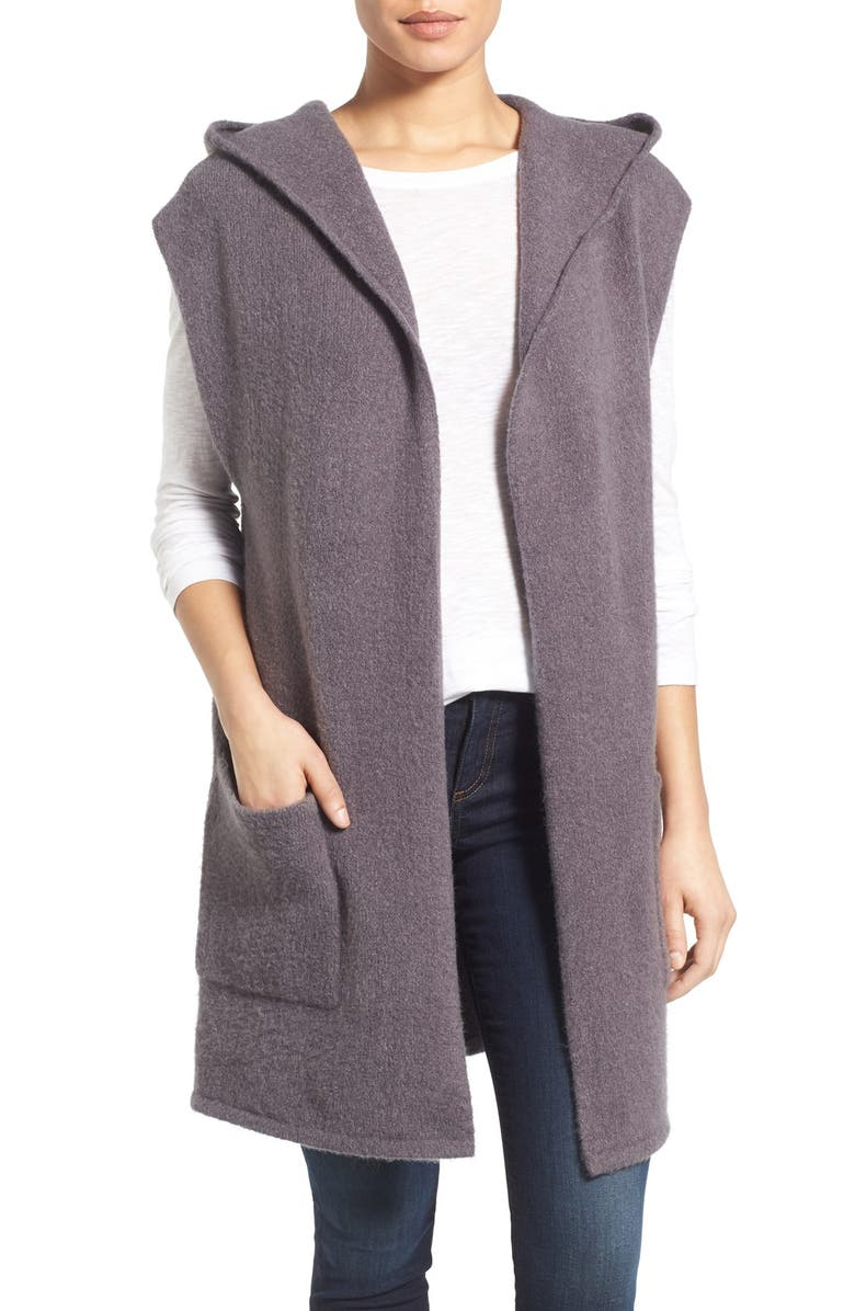 CASLON<SUP>®</SUP> Hooded Knit Open Vest, Main, color, GREY MEDIUM CHARCOAL HEATHER