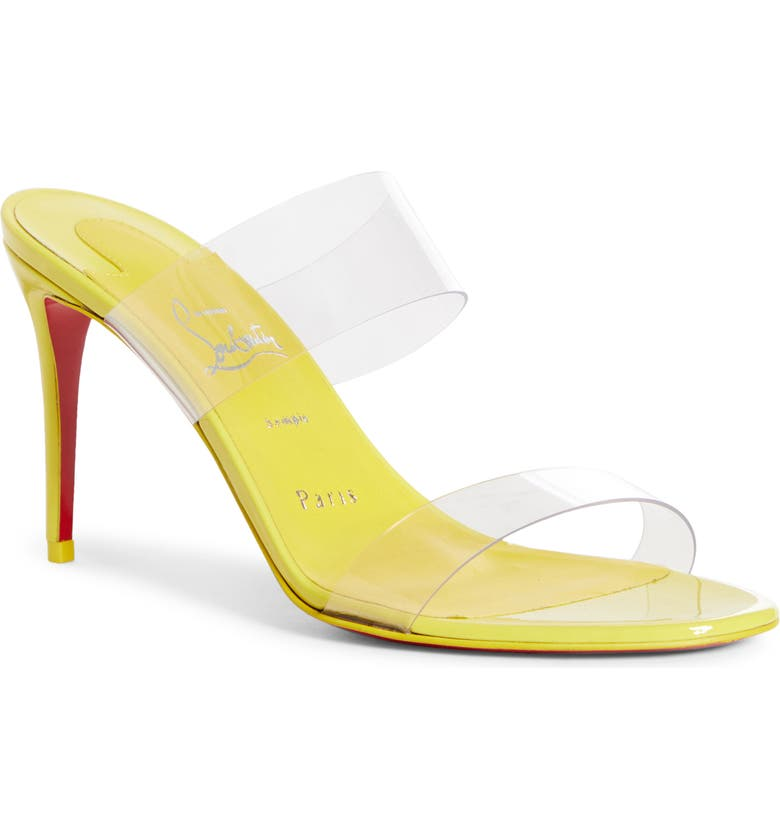 CHRISTIAN LOUBOUTIN Just Nothing Slide Sandal, Main, color, CITRUS