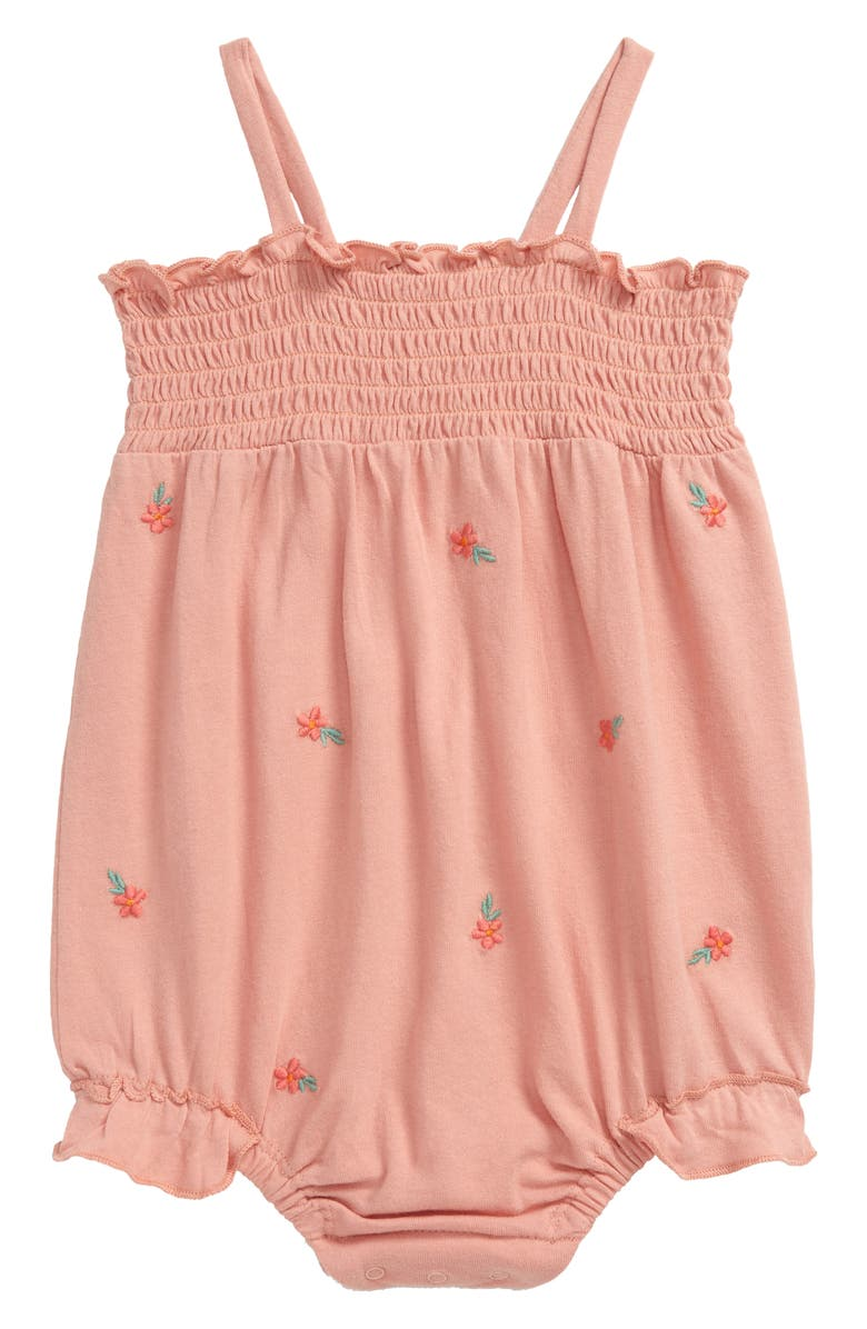 NORDSTROM Baby Lemon Embroidered Smocked Bubble Bodysuit, Main, color, PINK TAN FLOWERS