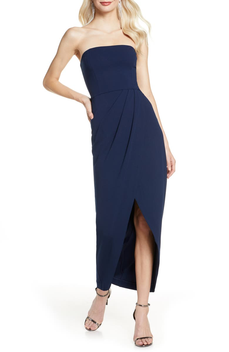 WAYF The Angelique Strapless Tulip Gown, Main, color, NAVY