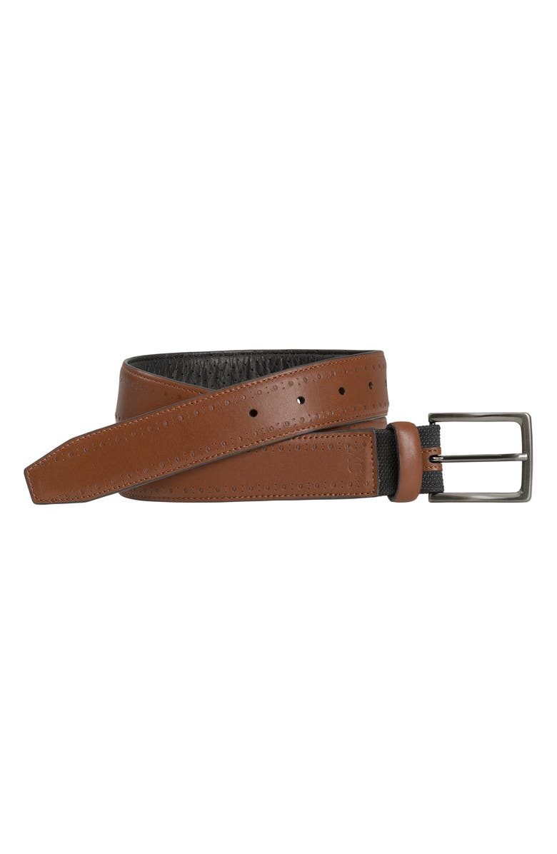 JOHNSTON & MURPHY XC4 Perforated Leather Belt, Main, color, TAN LEATHER
