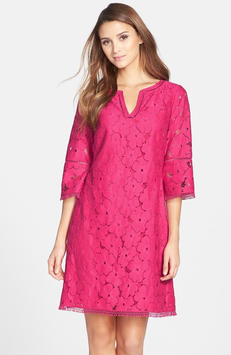 ADRIANNA PAPELL Floral Lace Bell Sleeve Shift Dress, Main, color, 666