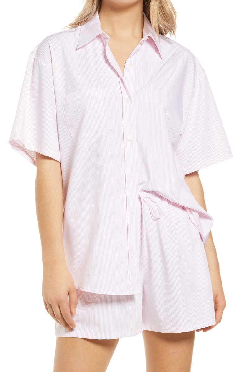 WAYF Plana Button Front Shirt, Main, color, PINK PINSTRIPE