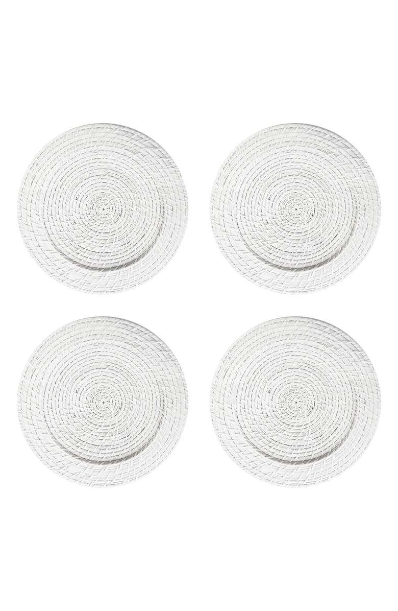 AMERICAN ATELIER Set of 4 Rattan Charger Plates, Main, color, White
