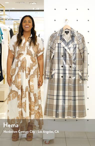 Water Resistant Plaid Glossy Trench Coat, sales video thumbnail
