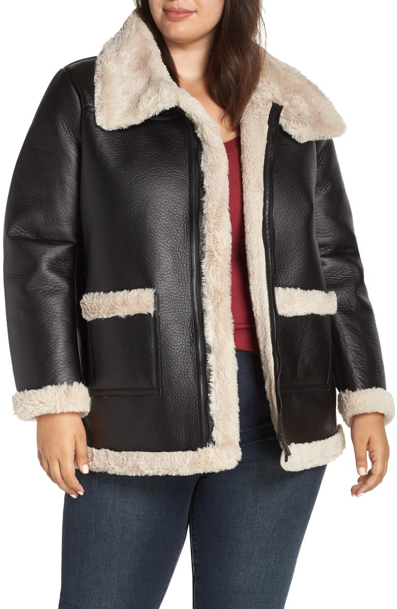 VINCE CAMUTO Faux Shearling Jacket, Main, color, 001
