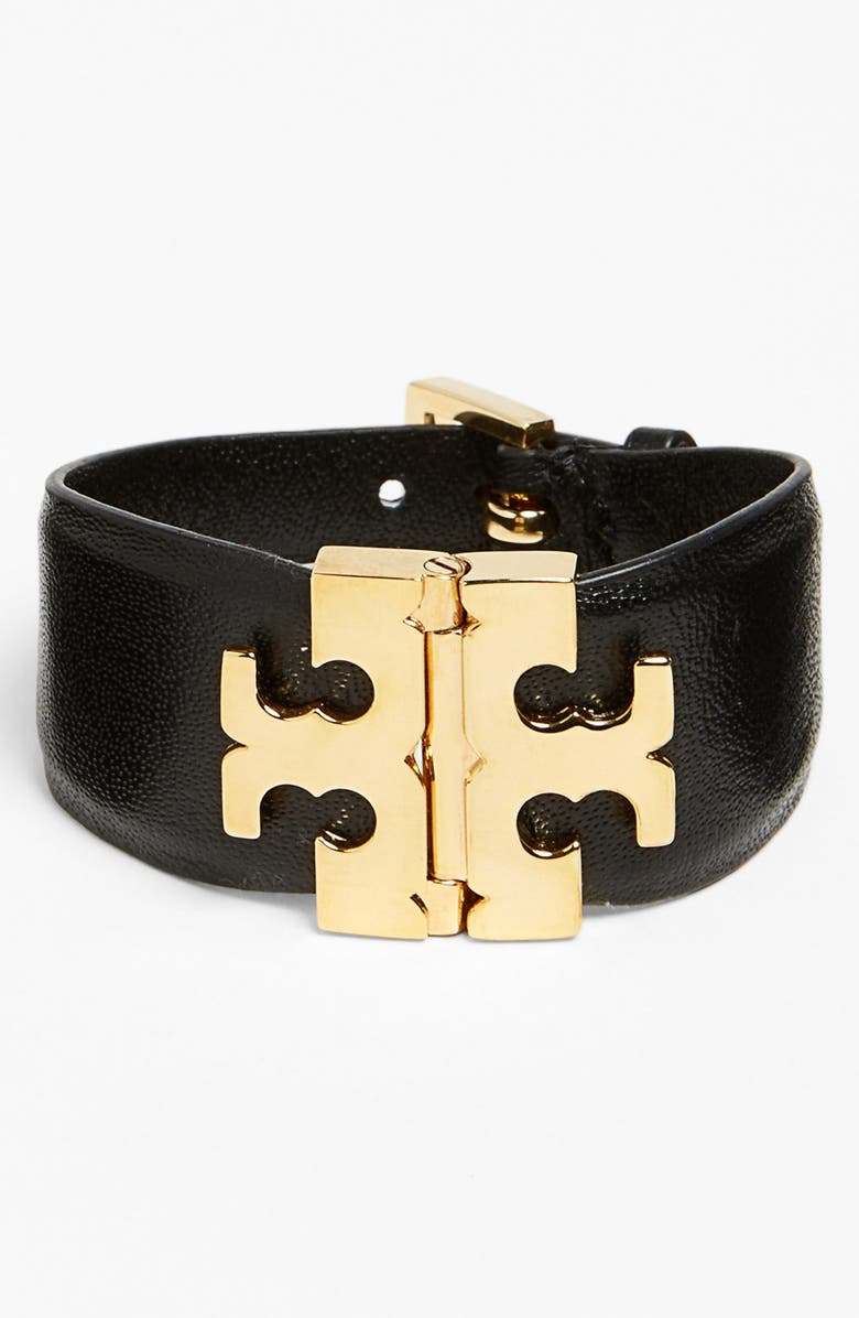 TORY BURCH Wide T-Hinge Leather Bracelet, Main, color, 001