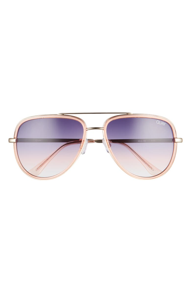 QUAY AUSTRALIA All In 58mm Aviator Sunglasses, Main, color, LIGHT PINK/ BLUE FADE