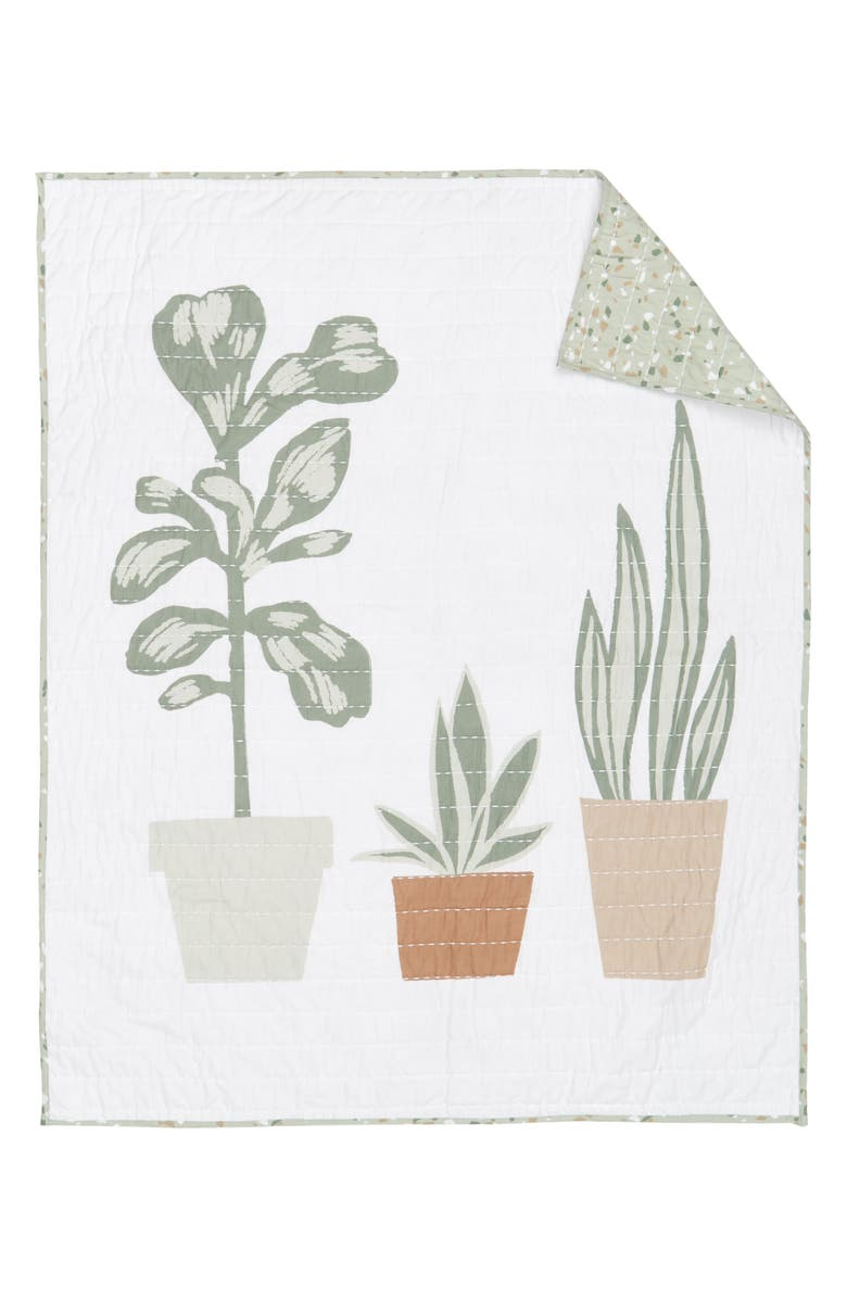 NORDSTROM Quilted Baby Blanket, Main, color, WHITE- GREEN PLANTS