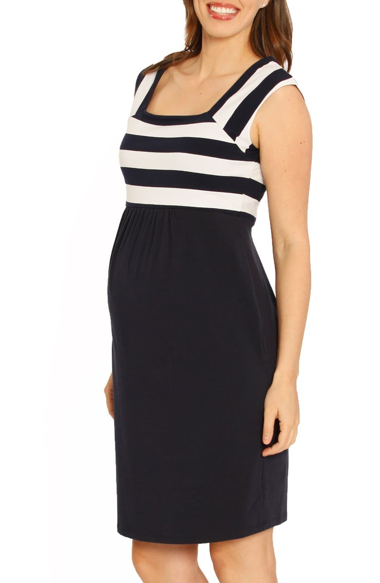 ANGEL MATERNITY Fitted Stripe Maternity Dress, Main, color, NAVY