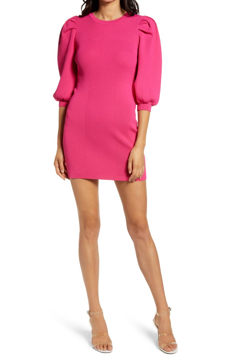 ENDLESS ROSE Puff Sleeve Sweater Minidress, Main, color, 650