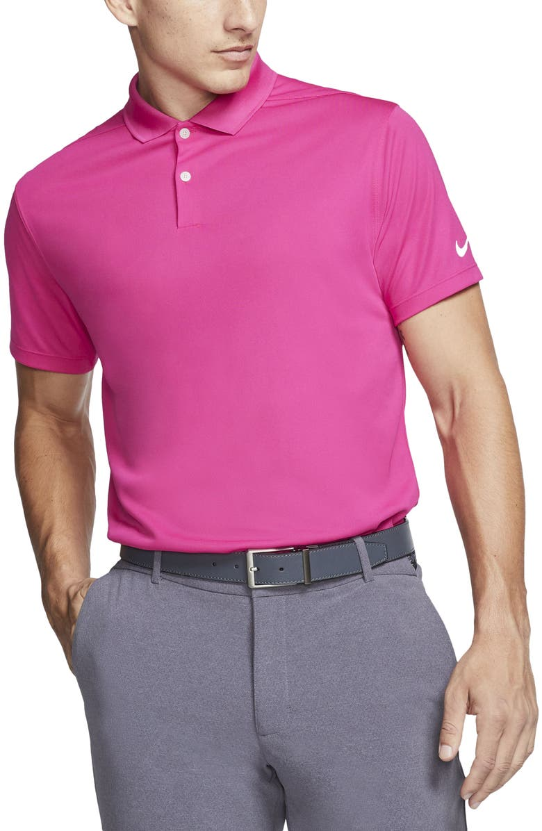 NIKE Golf Victory Dri-FIT Short Sleeve Polo, Main, color, VIVID PINK/ WHITE