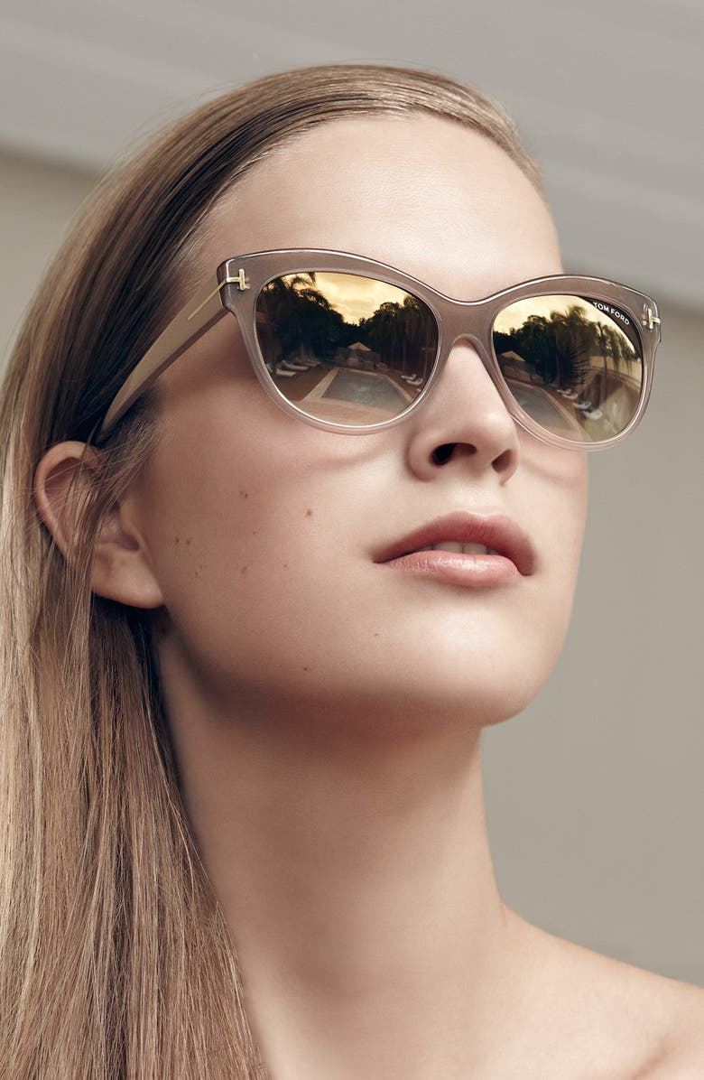 TOM FORD 'Lily' 56mm Cat Eye Sunglasses, Main, color, HAVANA/ GRADIENT BROWN