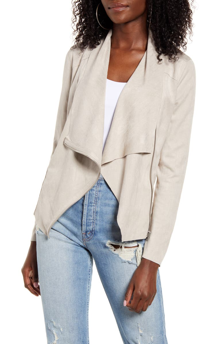 BLANKNYC Drape Front Faux Suede Jacket, Main, color, 022