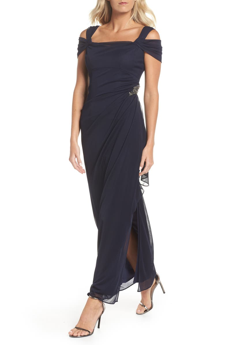 ALEX EVENINGS Embellished Cold Shoulder Column Gown, Main, color, NAVY