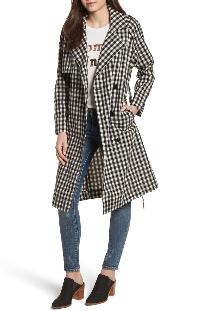 TEN SIXTY SHERMAN Gingham Trench Coat, Main, color, 004