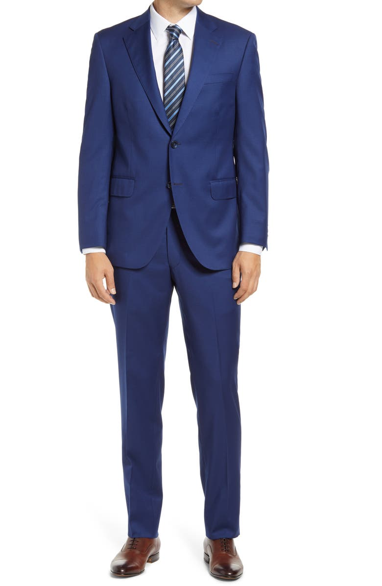 PETER MILLAR Flynn Graph Check Wool Suit, Main, color, BLUE