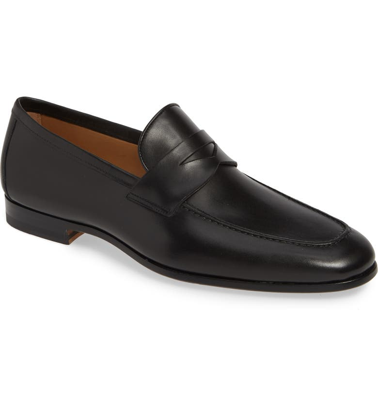 MAGNANNI Reed Penny Loafer, Main, color, BLACK LEATHER