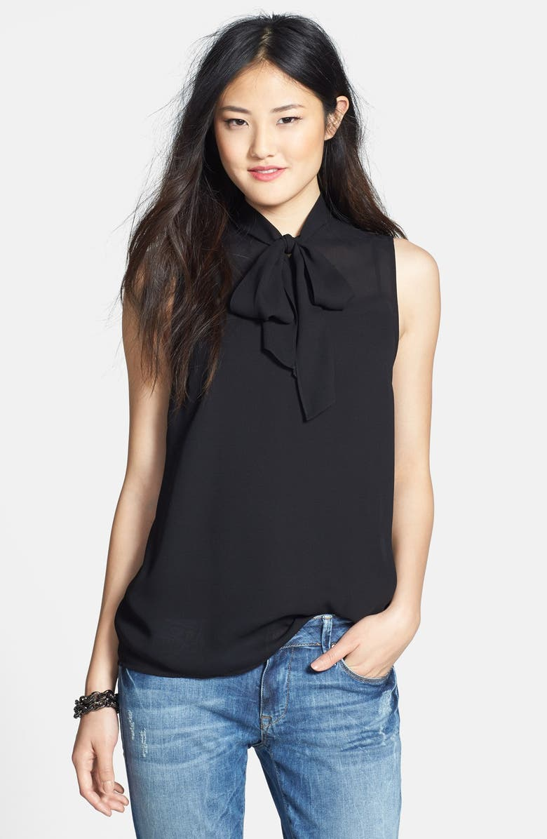 HALOGEN<SUP>®</SUP> Sleeveless Tie Neck Top, Main, color, 001