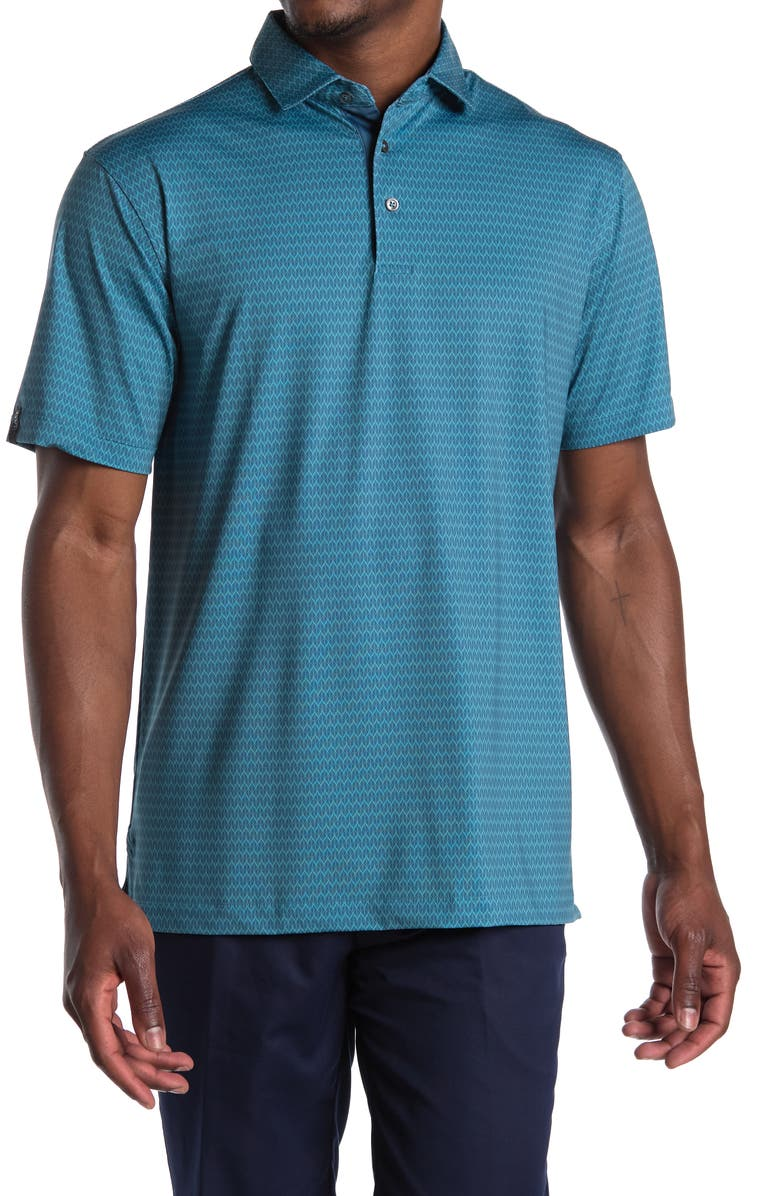 DEVEREUX Agave Printed Knit Polo, Main, color, GREEN CORAL