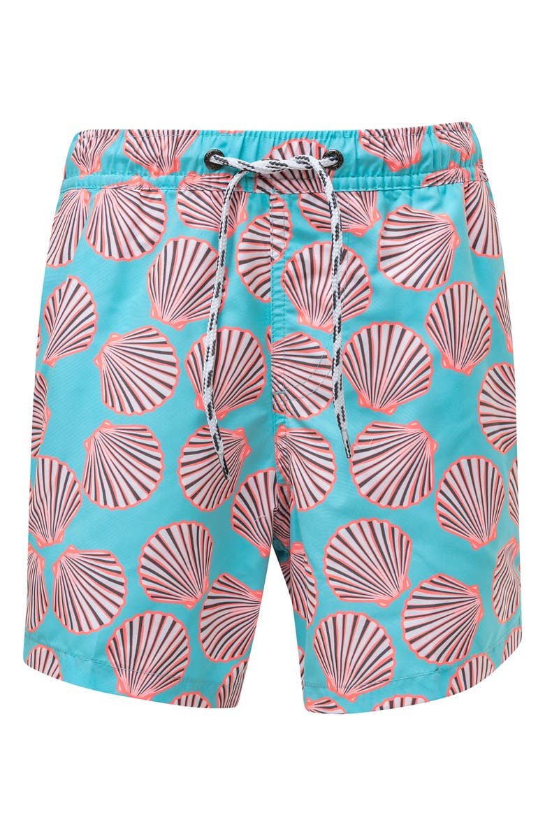 SNAPPER ROCK Shell Print Swim Trunks, Main, color, MEDIUM BLUE
