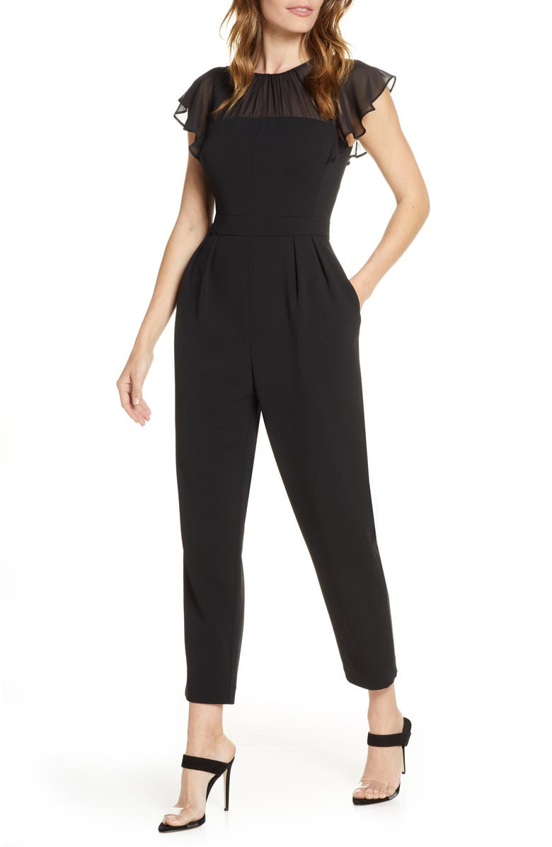 HARPER ROSE Gathered Illusion Neck Jumpsuit, Main, color, BLACK