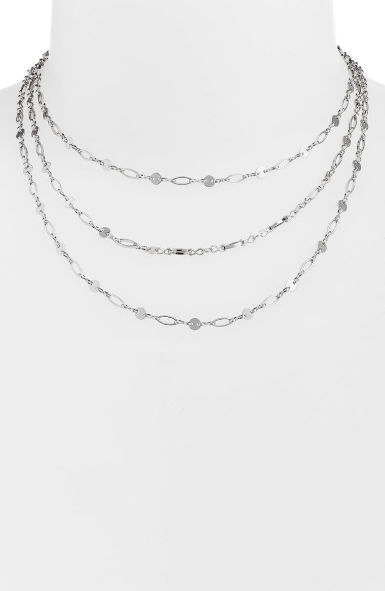 BAUBLEBAR Aphrodite Layered Necklace, Main, color, Silver