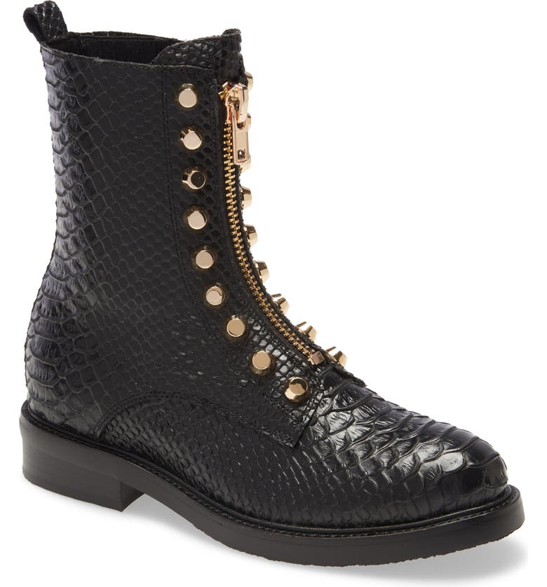 JEFFREY CAMPBELL Tonette Studded Zip Boot, Main, color, BLACK SNAKE