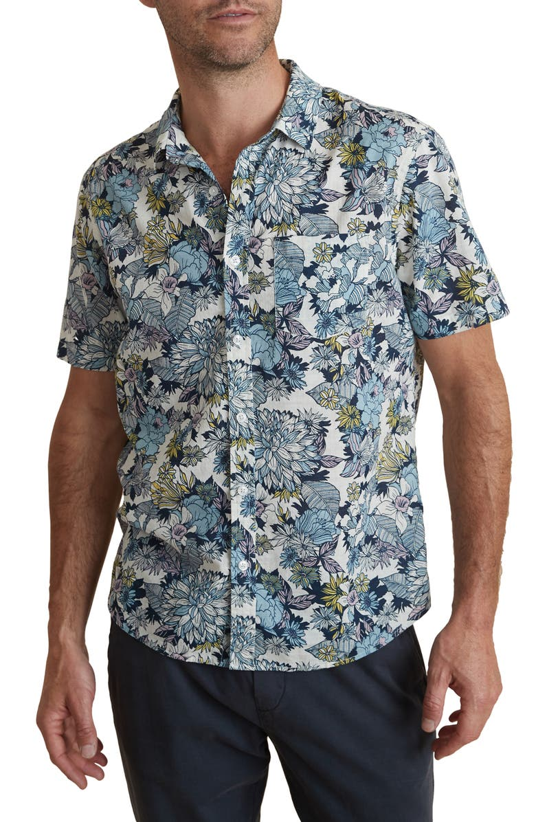 MARINE LAYER Bolton Tropical Short Sleeve Button-Up Shirt, Main, color, MULTI FLORAL PRINT
