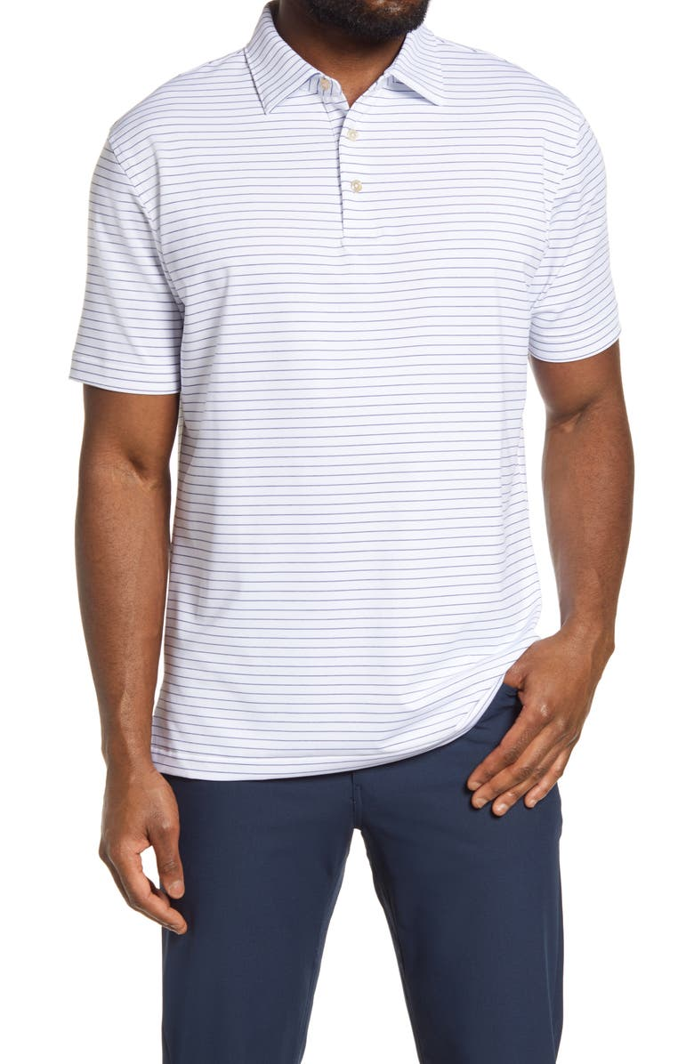 PETER MILLAR Crafty Pinstripe Performance Polo, Main, color, 100