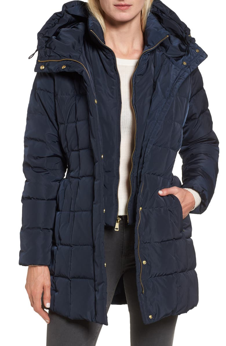 COLE HAAN SIGNATURE Cole Haan Hooded Down & Feather Jacket, Main, color, NAVY