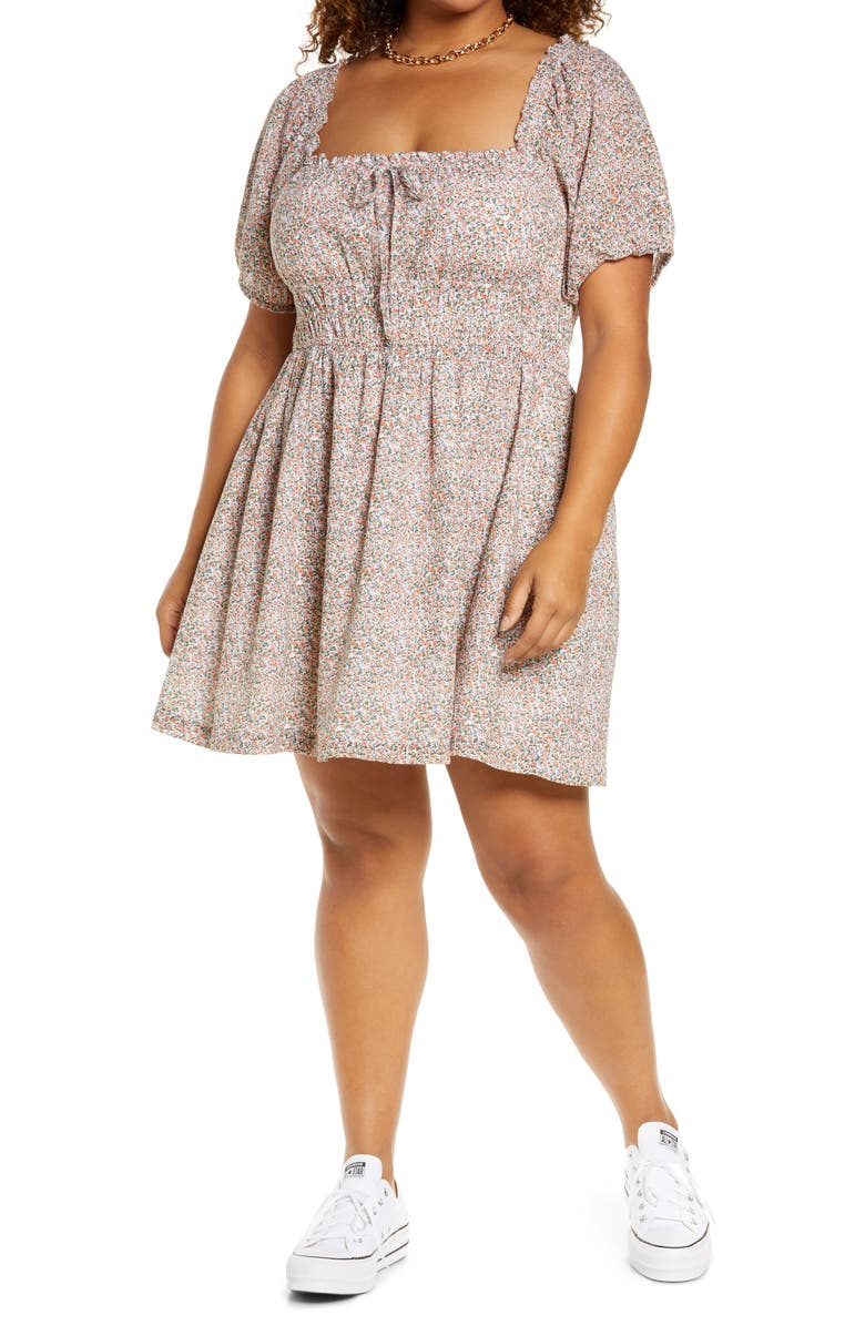 BP. Prairie Floral Puff Sleeve Cotton Minidress, Main, color, WHITE- CORAL LACEY DITSY