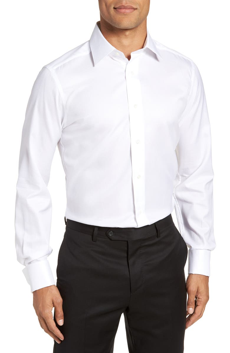 DAVID DONAHUE Trim Fit Solid French Cuff Tuxedo Shirt, Main, color, WHITE