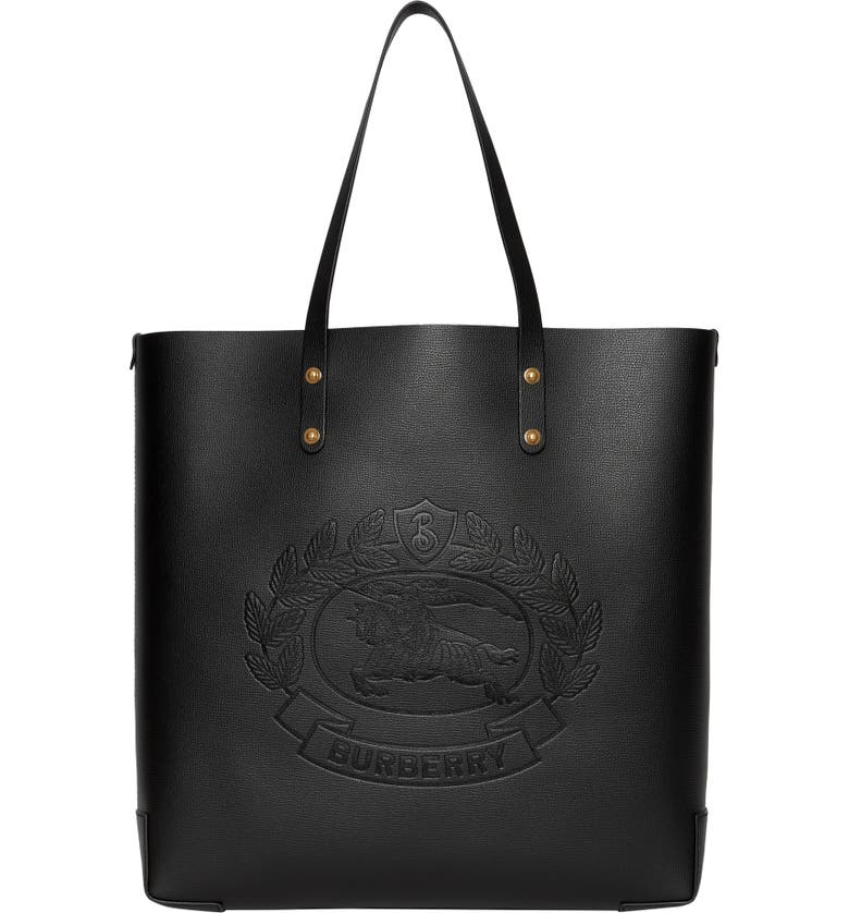BURBERRY Embossed Crest Large Leather Tote, Main, color, 001