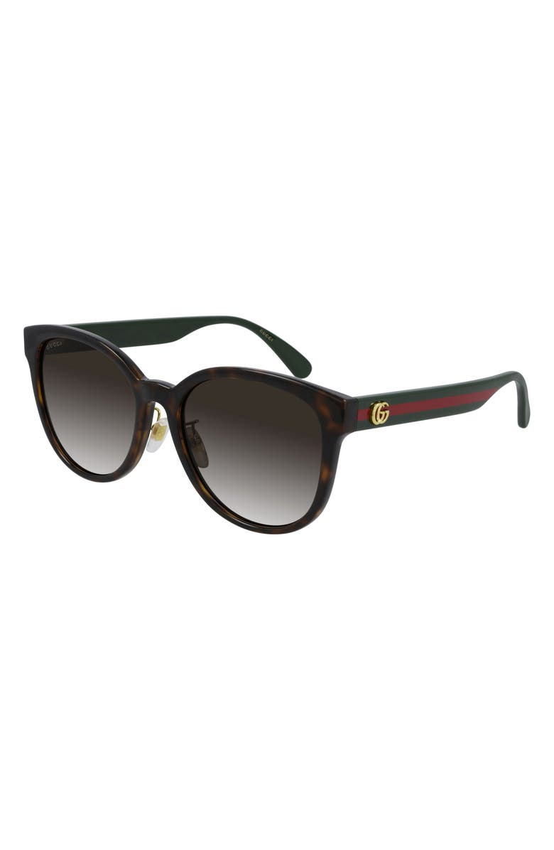 GUCCI 56mm Round Sunglasses, Main, color, DARK HAVANA/ BROWN GRADIENT