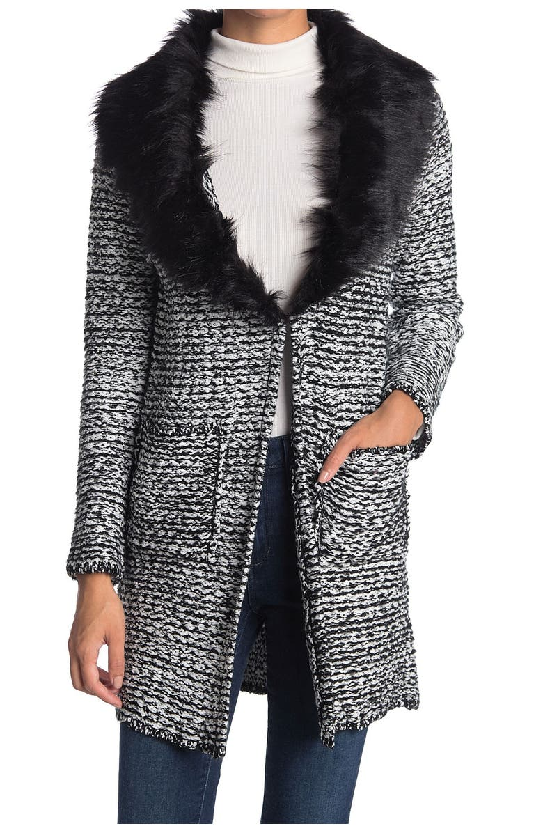 CLICHE Wool Blended Faux Fur Collar Cardigan, Main, color, BLACK/WHITE