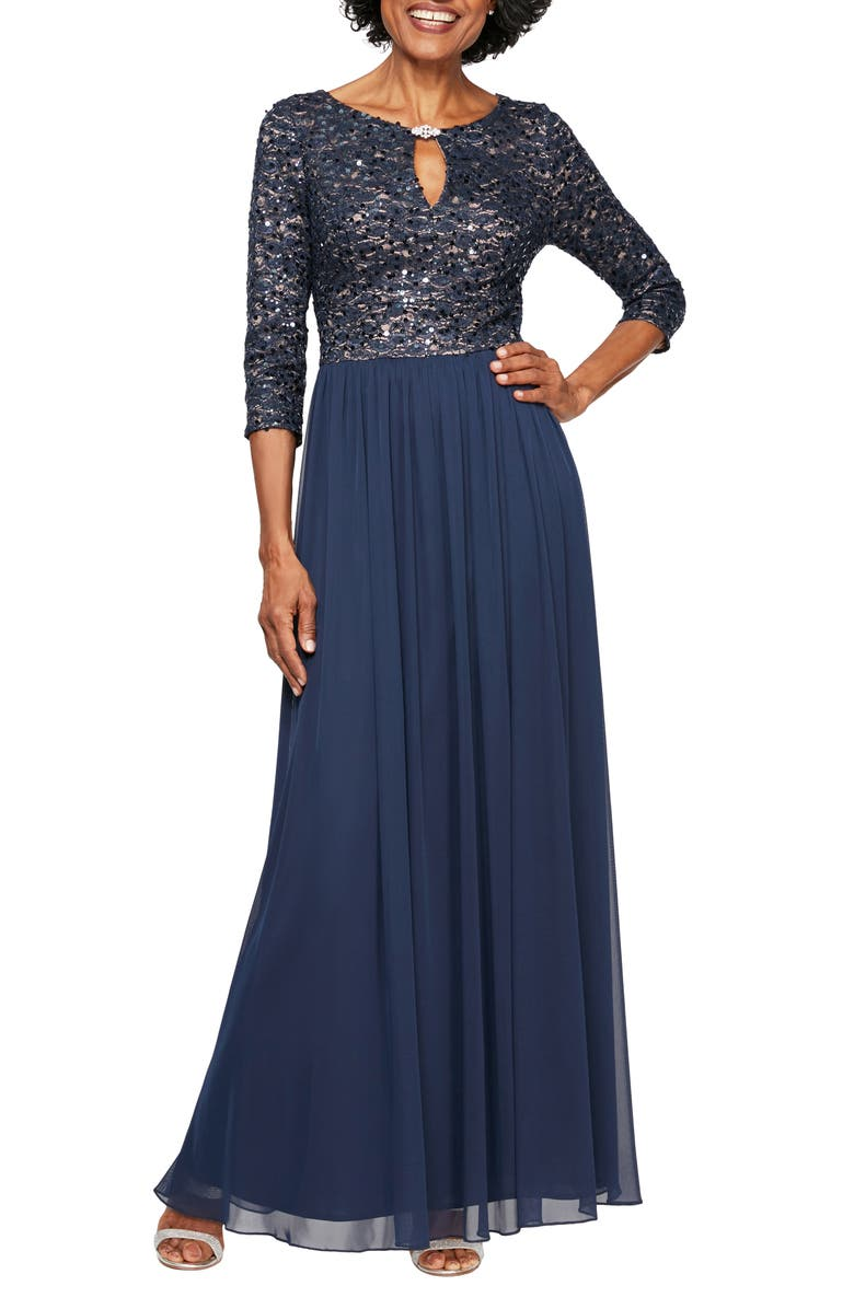ALEX EVENINGS Embellished Keyhole Gown, Main, color, 404
