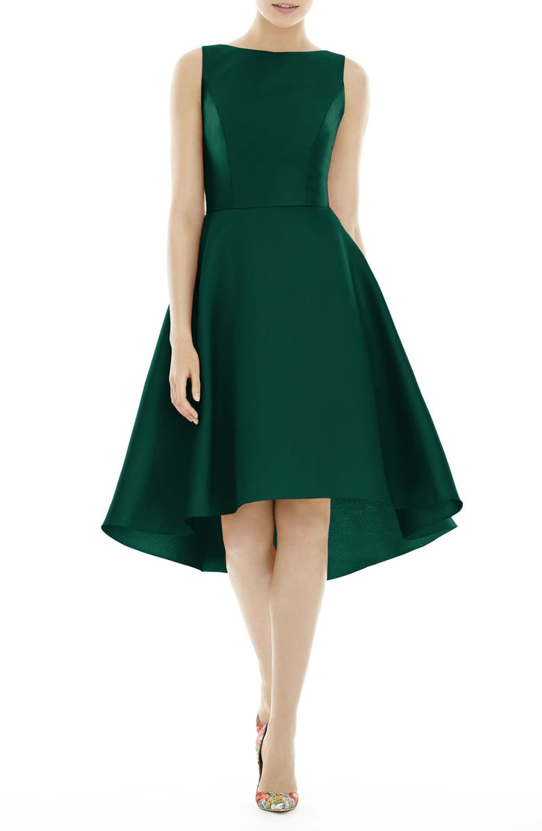 ALFRED SUNG High/Low Cocktail Dress, Main, color, HUNTER
