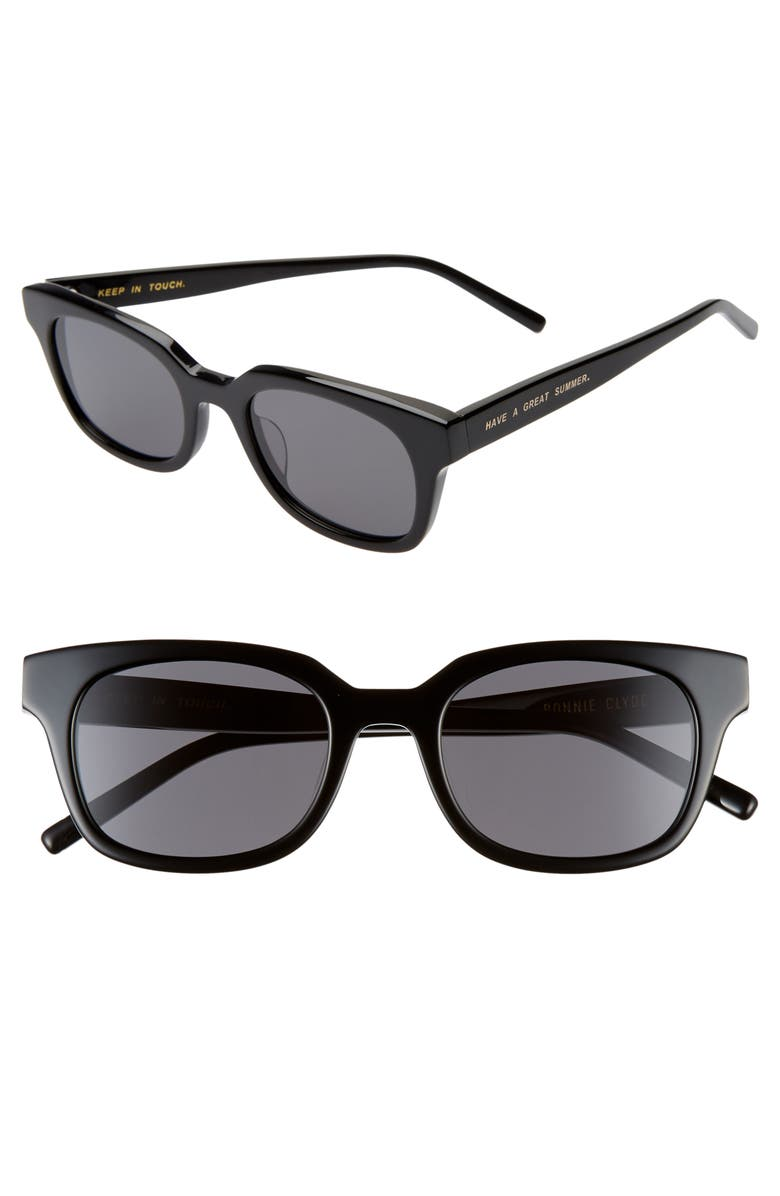 BONNIE CLYDE Chess Club 50mm Square Sunglasses, Main, color, 001