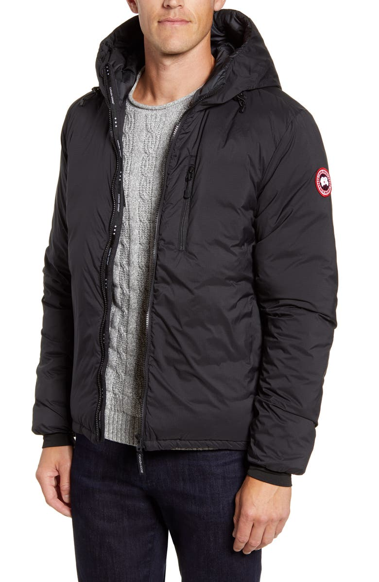 CANADA GOOSE Lodge Packable Windproof 750 Fill Power Down Hooded Jacket, Main, color, BLACK