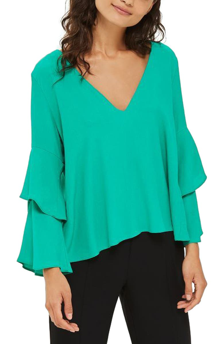 TOPSHOP Double Sleeve Layer Top, Main, color, 301
