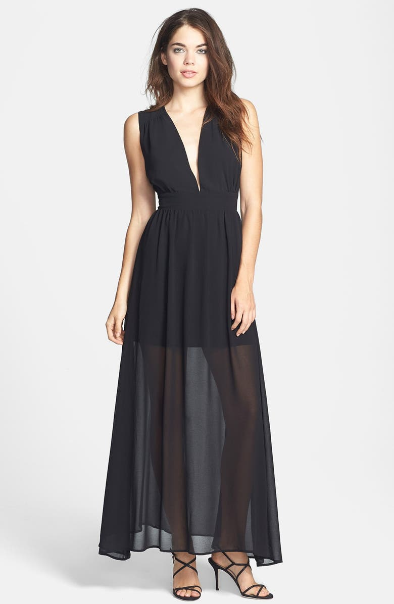 KEEPSAKE THE LABEL 'Cold Desert' Embroidered Back Chiffon Maxi Dress, Main, color, 001