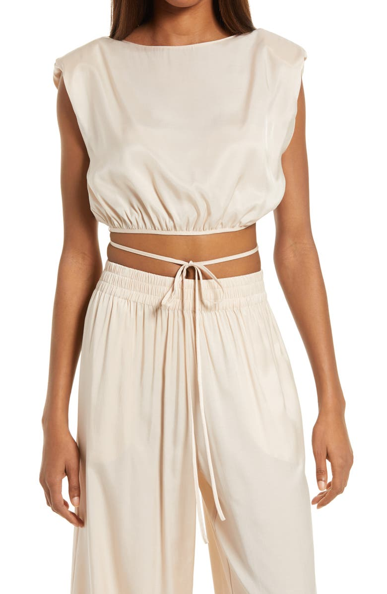 WAYF Aliso Sleeveless Crop Top, Main, color, ECRU