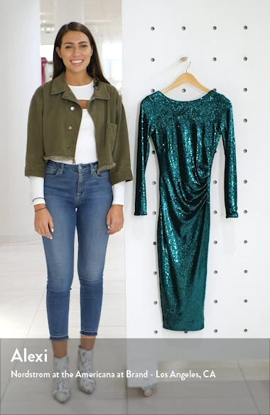 Emilia Sequin Long Sleeve Cocktail Dress, sales video thumbnail