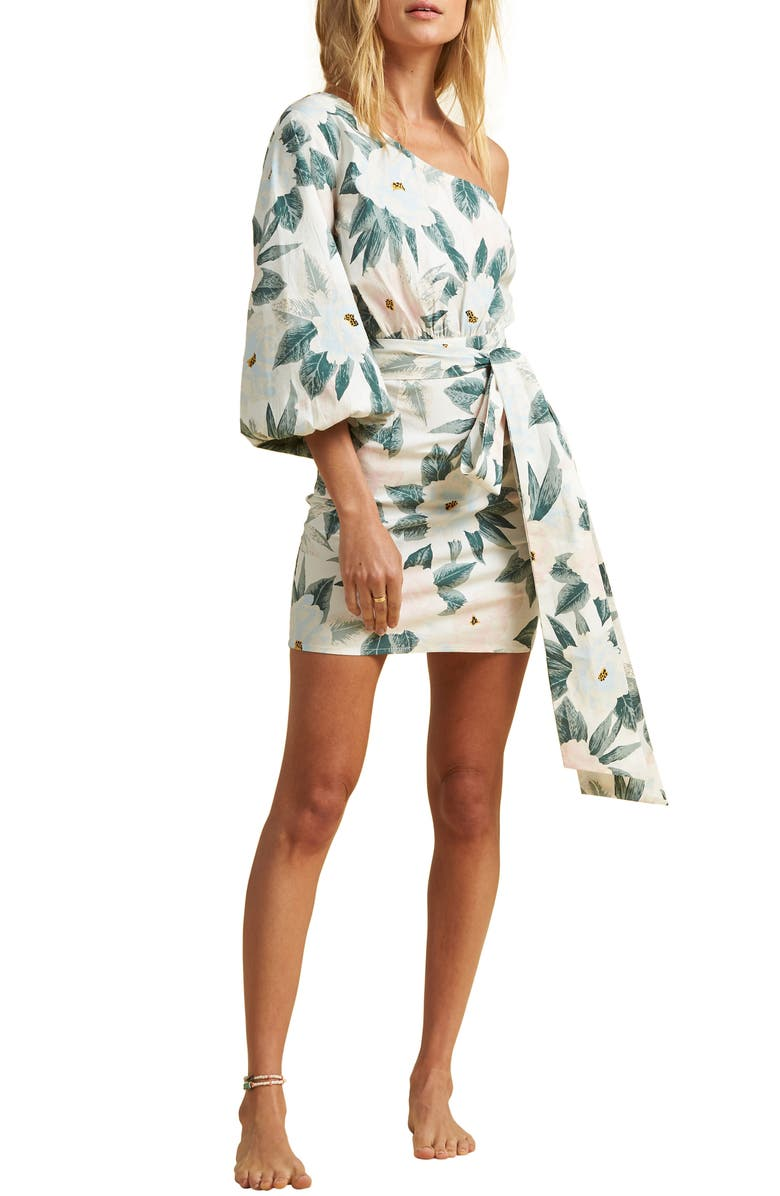 BILLABONG x The Salty Blonde Sunkissed Print One-Shoulder Minidress, Main, color, GREEN MULTI