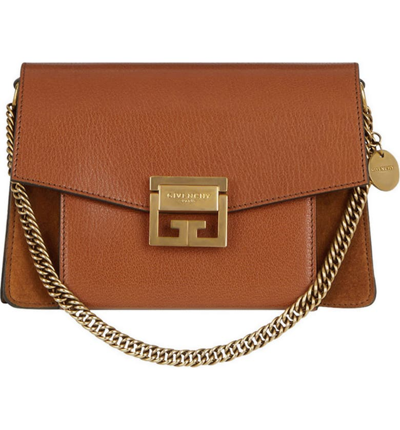 GIVENCHY Small GV3 Leather & Suede Crossbody Bag, Main, color, CHESTNUT