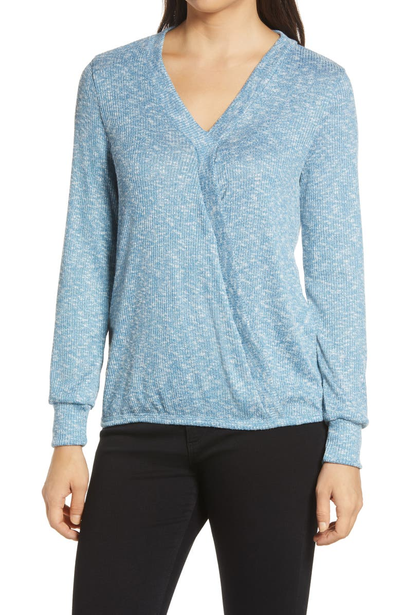 BOBEAU Hacci Rib Top, Main, color, AQUA