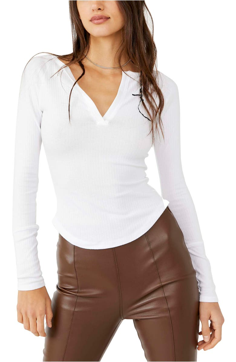 FREE PEOPLE Billie Split Neck Layering Top, Main, color, PAINTED WHITE